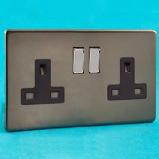 Varilight 2 Gang 13A Socket Screwless Pewter/Slate Grey with Black Insert (8 Pack) XDR5BS-P8